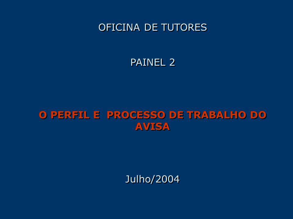 OFICINA DE TUTORES PAINEL 2 O PERFIL E PROCESSO DE TRABALHO DO AVISA Julho/2004 OFICINA DE TUTORES PAINEL 2 O PERFIL E PROCESSO DE TRABALHO DO AVISA J