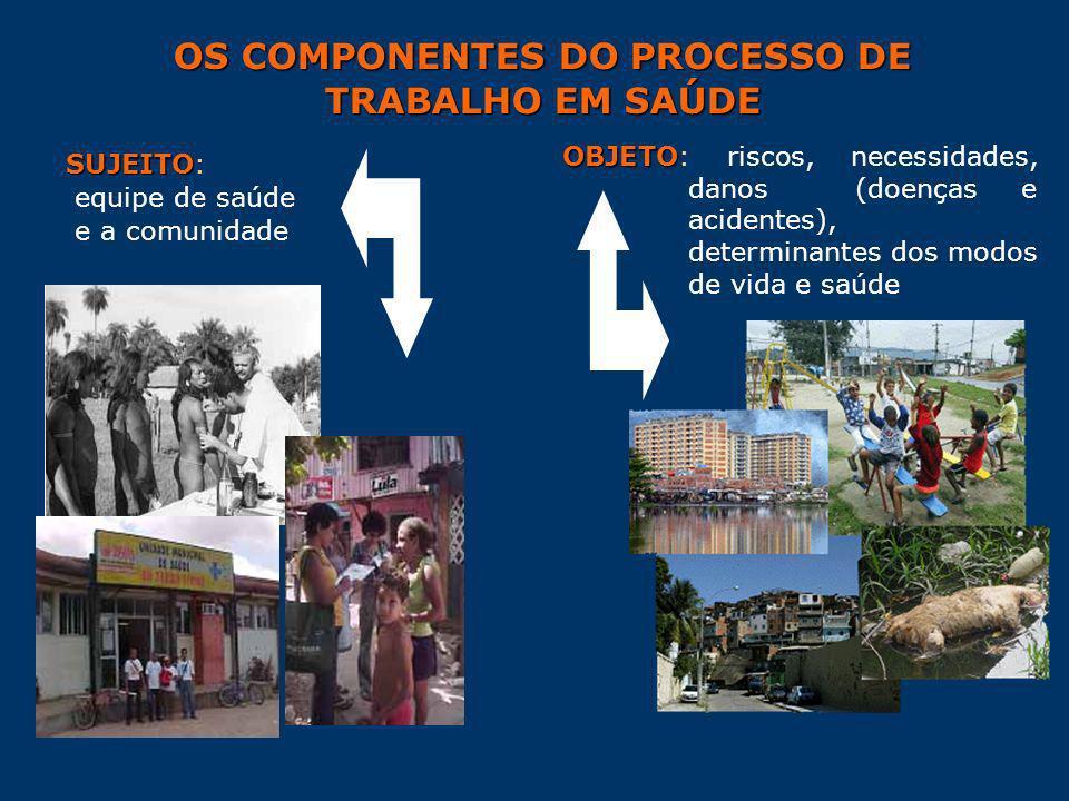 OS COMPONENTES DO PROCESSO DE TRABALHO EM SAÚDE SUJEITO SUJEITO: equipe de saúde e a comunidade OBJETO OBJETO: riscos, necessidades, danos (doenças e