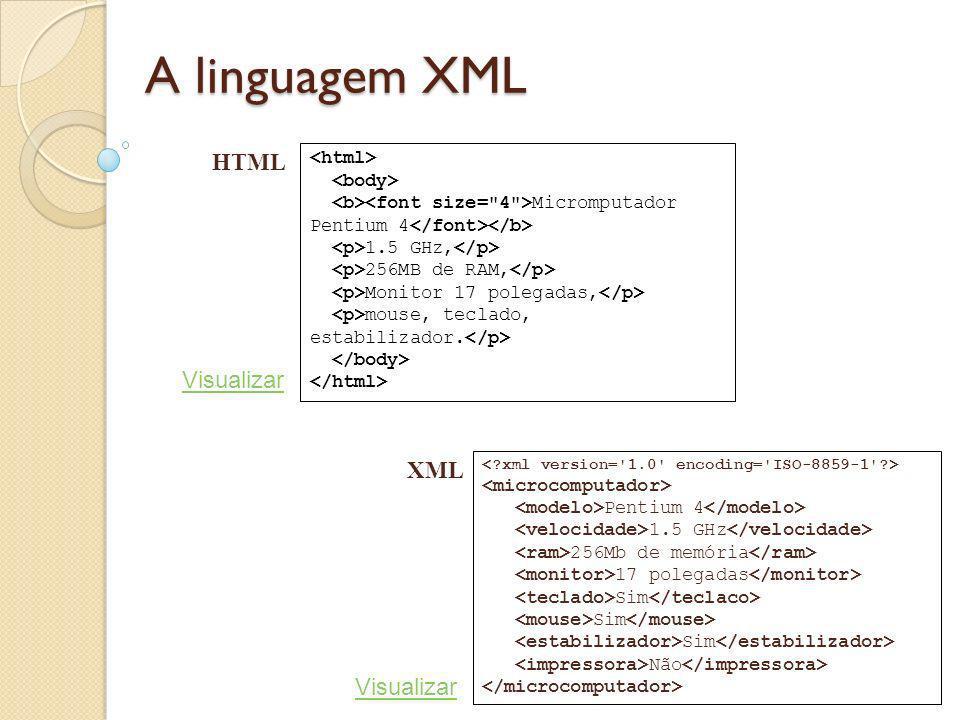 A linguagem XML Micromputador Pentium 4 1.5 GHz, 256MB de RAM, Monitor 17 polegadas, mouse, teclado, estabilizador. Pentium 4 1.5 GHz 256Mb de memória