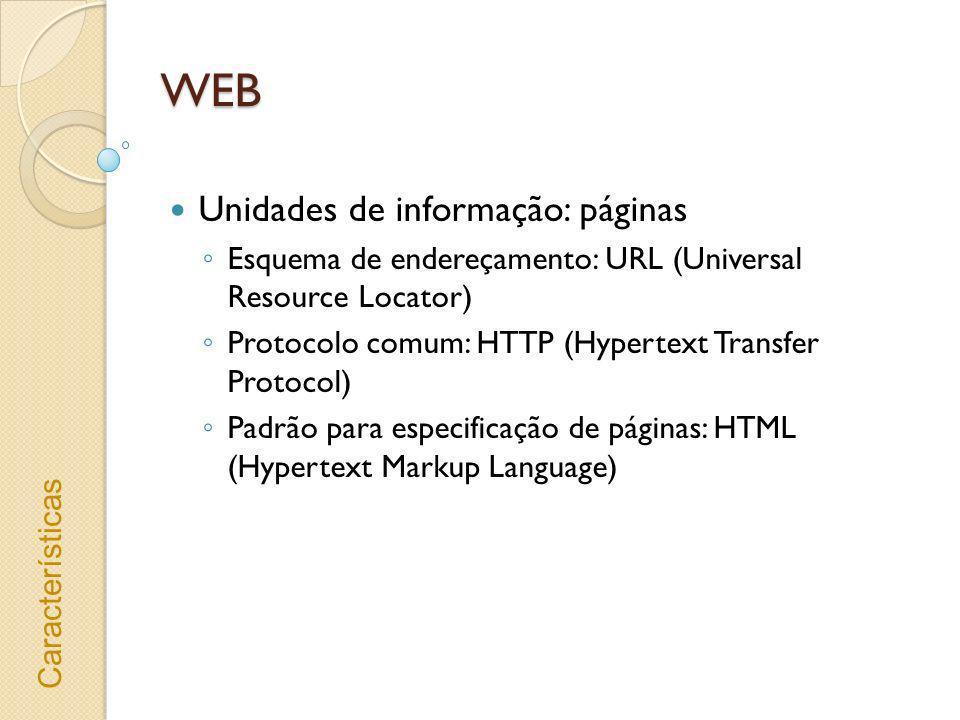 WEB Unidades de informação: páginas Esquema de endereçamento: URL (Universal Resource Locator) Protocolo comum: HTTP (Hypertext Transfer Protocol) Pad