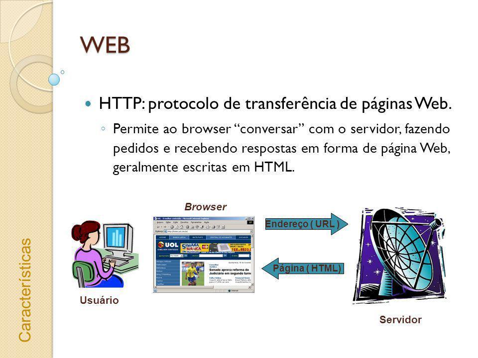WEB HTML (Hypertext Markup Language) Conjunto fixo de marcações (tags) Permite utilizar janelas (frames), imagens e tabelas e ligações entre páginas Web.