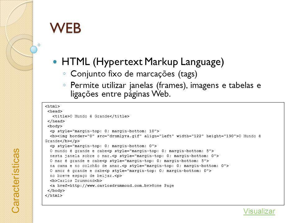 WEB HTML (Hypertext Markup Language) Conjunto fixo de marcações (tags) Permite utilizar janelas (frames), imagens e tabelas e ligações entre páginas W