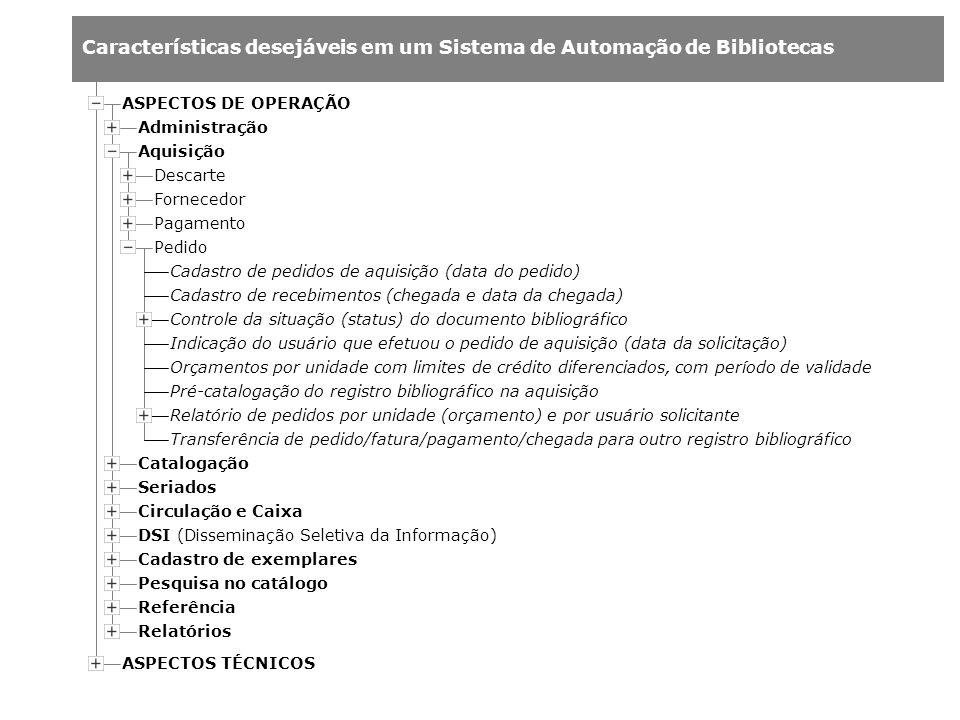 Características desejáveis em um Sistema de Automação de Bibliotecas Administração Aquisição Catalogação ASPECTOS DE OPERAÇÃO ASPECTOS TÉCNICOS Seriad