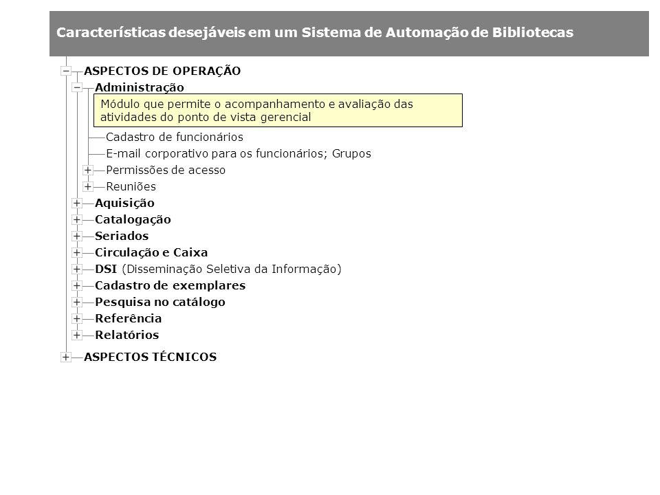 Características desejáveis em um Sistema de Automação de Bibliotecas Administração Aquisição Catalogação Cadastro de funcionários E-mail corporativo p