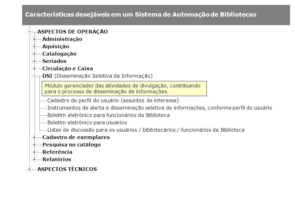 Características desejáveis em um Sistema de Automação de Bibliotecas Administração Aquisição Catalogação Cadastro de perfil do usuário (assuntos de in
