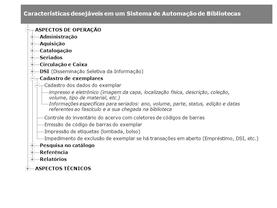 Características desejáveis em um Sistema de Automação de Bibliotecas impresso e eletrônico (imagem da capa, localização física, descrição, coleção, vo