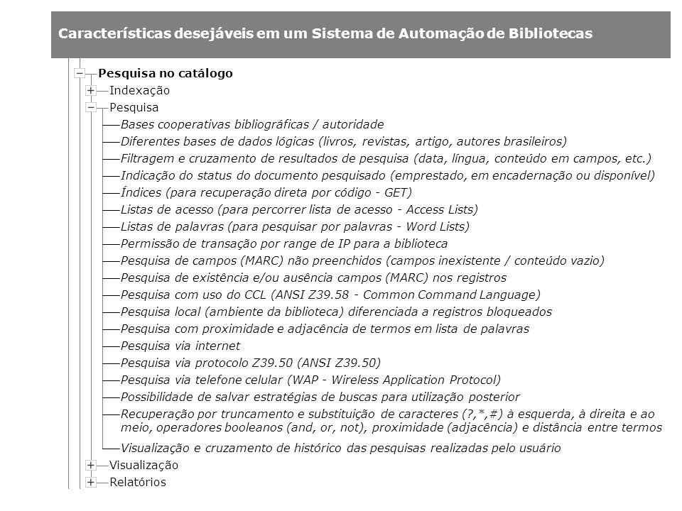 Características desejáveis em um Sistema de Automação de Bibliotecas Indexação Pesquisa Relatórios Pesquisa no catálogo Visualização Bases cooperativa
