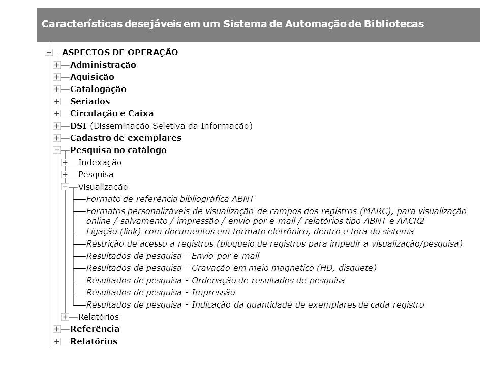 Características desejáveis em um Sistema de Automação de Bibliotecas Administração Aquisição Catalogação Indexação Pesquisa Relatórios ASPECTOS DE OPE