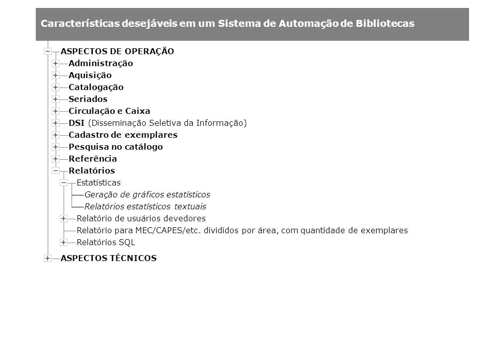 Características desejáveis em um Sistema de Automação de Bibliotecas Administração Aquisição Catalogação Estatísticas Relatório de usuários devedores