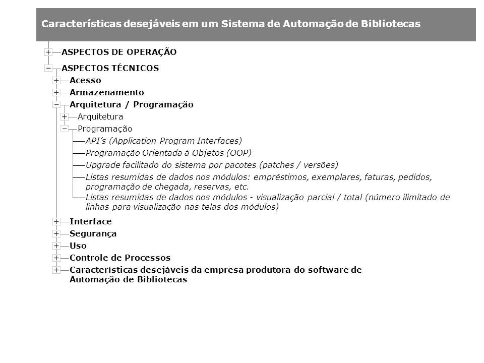 Características desejáveis em um Sistema de Automação de Bibliotecas Arquitetura Acesso Armazenamento Arquitetura / Programação ASPECTOS DE OPERAÇÃO A