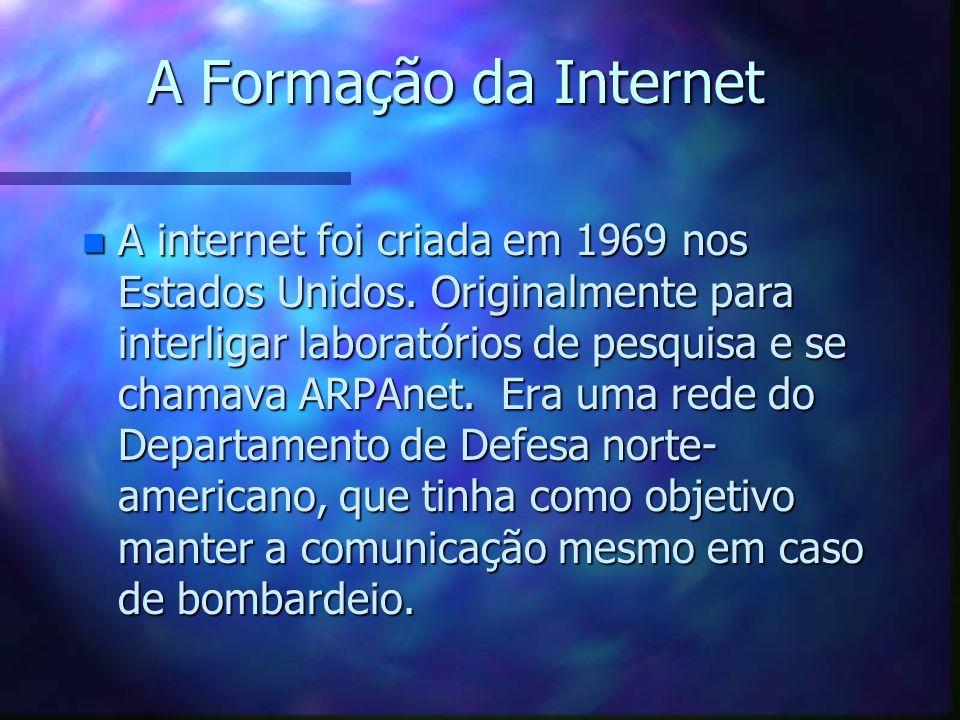 A Formação da Internet n A internet foi criada em 1969 nos Estados Unidos.