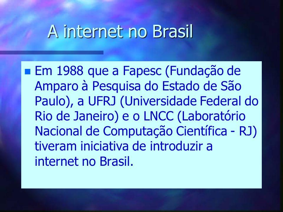 A internet no Brasil n n Em 1988 que a Fapesc (Fundação de Amparo à Pesquisa do Estado de São Paulo), a UFRJ (Universidade Federal do Rio de Janeiro) e o LNCC (Laboratório Nacional de Computação Científica - RJ) tiveram iniciativa de introduzir a internet no Brasil.