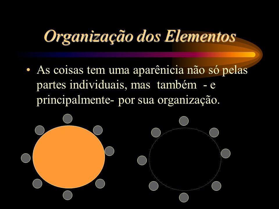 Organização dos Elementos As coisas tem uma aparênicia não só pelas partes individuais, mas também - e principalmente- por sua organização.