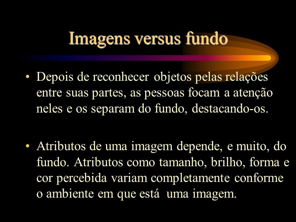 Imagens versus fundo Depois de reconhecer objetos pelas relações entre suas partes, as pessoas focam a atenção neles e os separam do fundo, destacando-os.