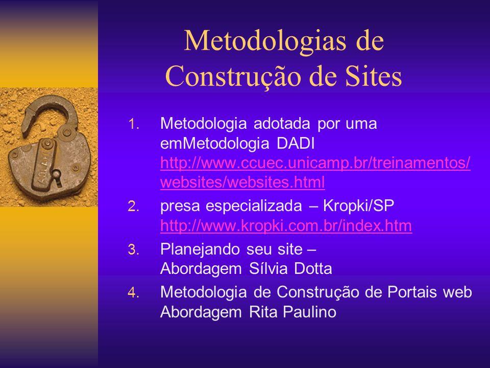 Metodologias de Construção de Sites 1. Metodologia adotada por uma emMetodologia DADI http://www.ccuec.unicamp.br/treinamentos/ websites/websites.html