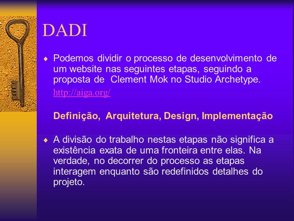DADI Podemos dividir o processo de desenvolvimento de um website nas seguintes etapas, seguindo a proposta de Clement Mok no Studio Archetype. http://