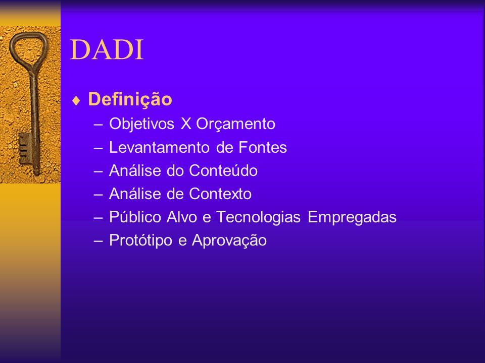 DADI Definição –Objetivos X Orçamento –Levantamento de Fontes –Análise do Conteúdo –Análise de Contexto –Público Alvo e Tecnologias Empregadas –Protót