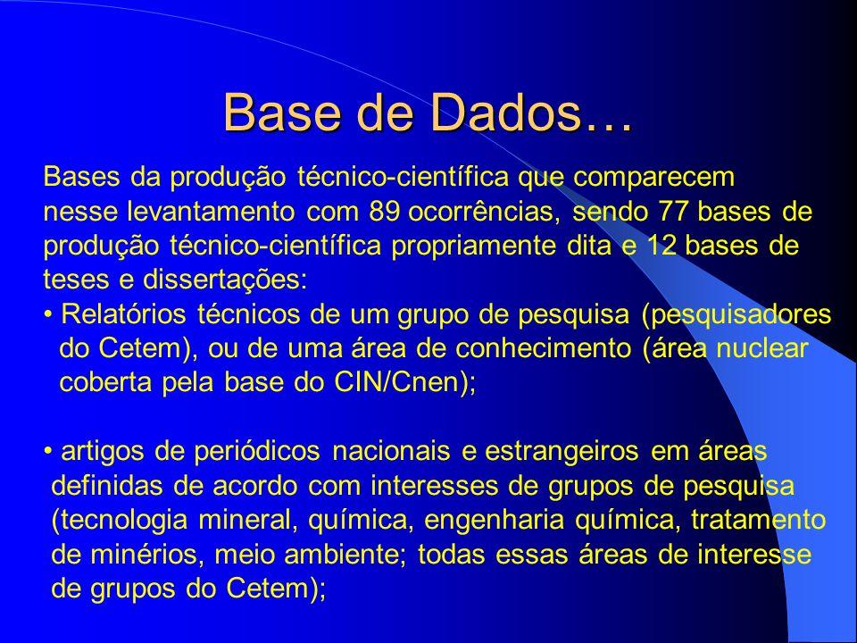 Base de Dados… Bases da produção técnico-científica que comparecem nesse levantamento com 89 ocorrências, sendo 77 bases de produção técnico-científic