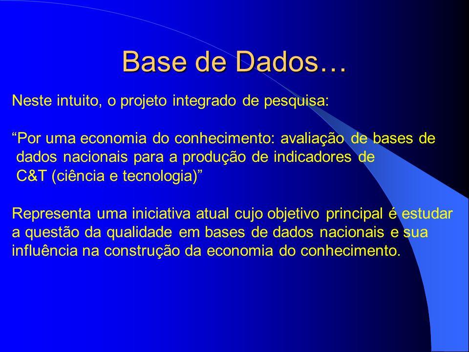 Base de Dados… Neste intuito, o projeto integrado de pesquisa: Por uma economia do conhecimento: avaliação de bases de dados nacionais para a produção