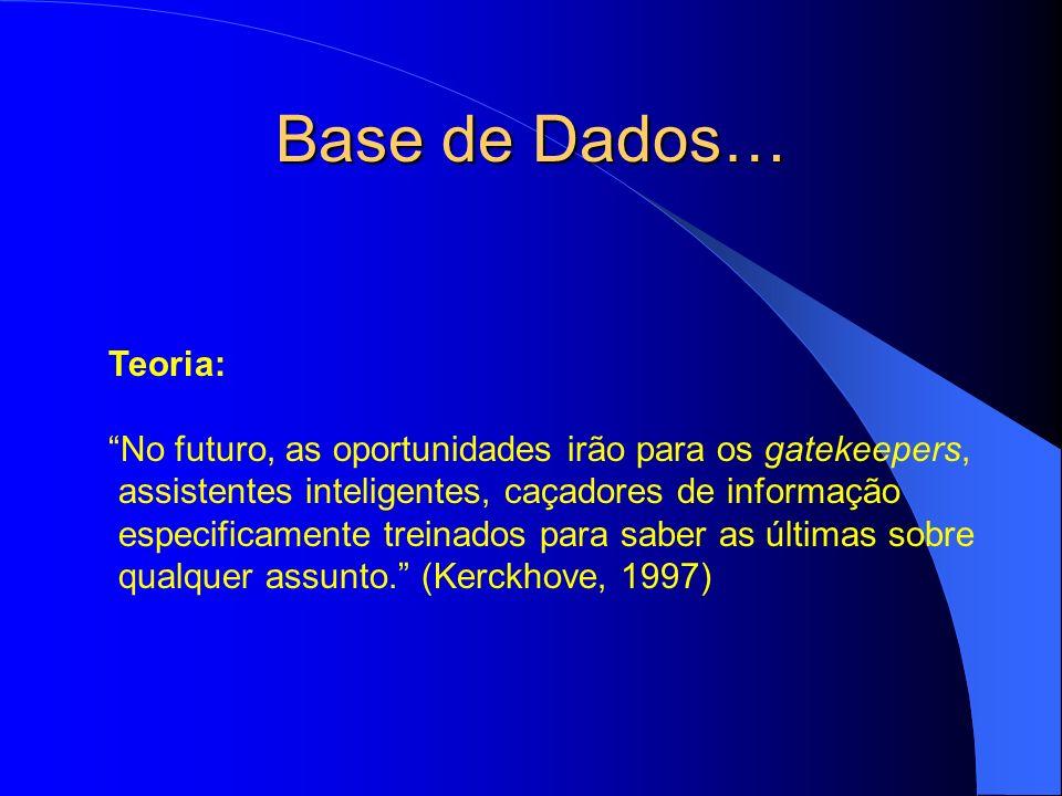 Base de Dados… Teoria: No futuro, as oportunidades irão para os gatekeepers, assistentes inteligentes, caçadores de informação especificamente treinad
