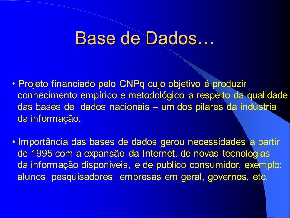 Base de Dados… Projeto financiado pelo CNPq cujo objetivo é produzir conhecimento empírico e metodológico a respeito da qualidade das bases de dados n