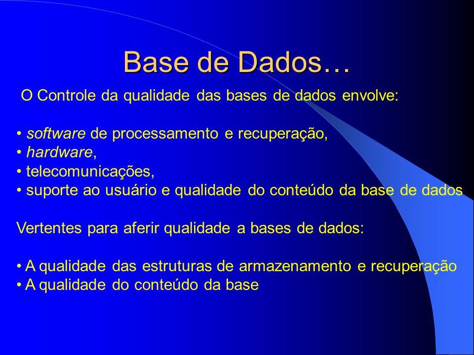 Base de Dados… O Controle da qualidade das bases de dados envolve: software de processamento e recuperação, hardware, telecomunicações, suporte ao usu