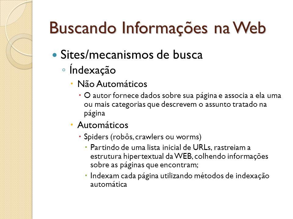 Buscando Informações na Web Sites/mecanismos de busca Índexação Não Automáticos O autor fornece dados sobre sua página e associa a ela uma ou mais cat