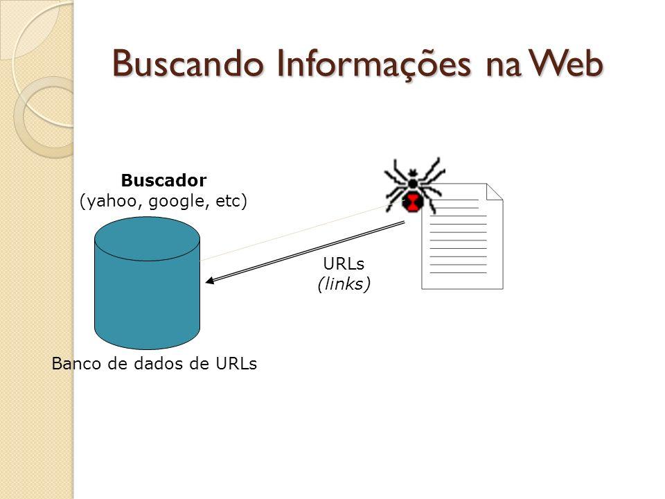 Buscando Informações na Web Banco de dados de URLs Buscador (yahoo, google, etc) URLs (links)