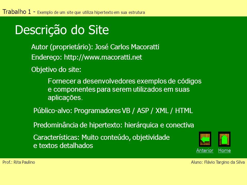 Trabalho 1 - Exemplo de um site que utiliza hipertexto em sua estrutura Prof.: Rita PaulinoAluno: Flávio Targino da Silva Descrição do Site Autor (pro