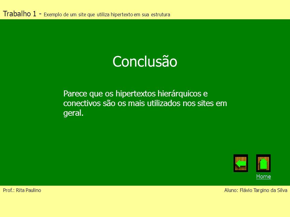 Trabalho 1 - Exemplo de um site que utiliza hipertexto em sua estrutura Prof.: Rita PaulinoAluno: Flávio Targino da Silva Conclusão Parece que os hipe