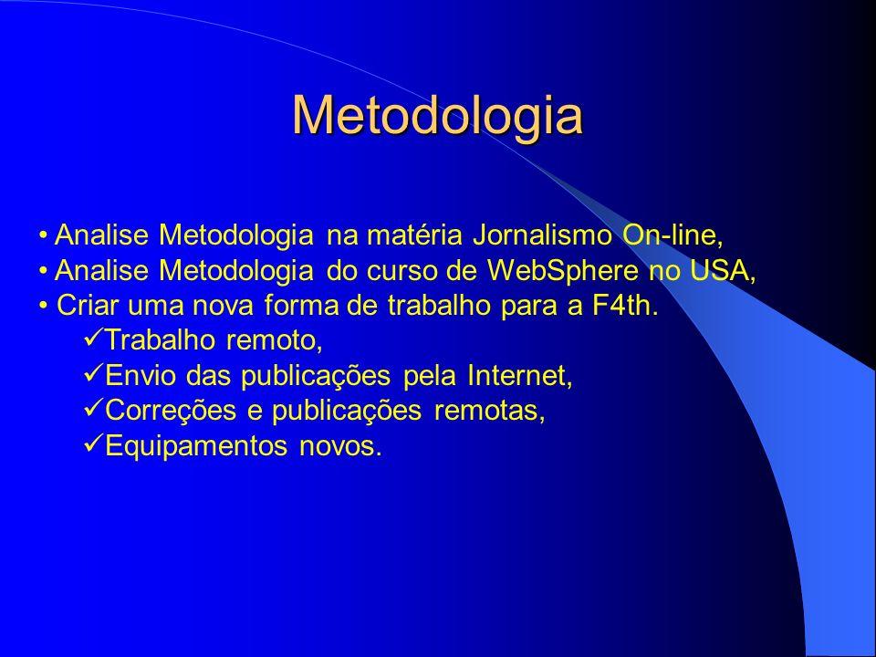 Metodologia Analise Metodologia na matéria Jornalismo On-line, Analise Metodologia do curso de WebSphere no USA, Criar uma nova forma de trabalho para a F4th.