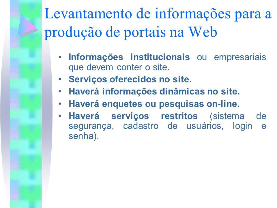 Levantamento de informações para a produção de portais na Web Informações institucionais ou empresariais que devem conter o site.