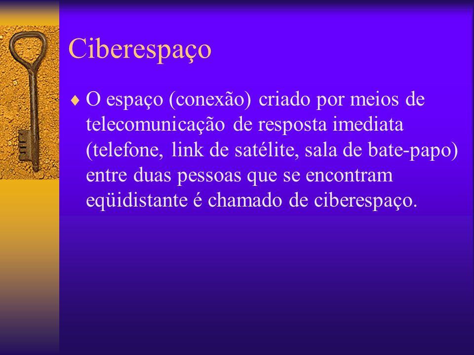 Ciberespaço O espaço (conexão) criado por meios de telecomunicação de resposta imediata (telefone, link de satélite, sala de bate-papo) entre duas pessoas que se encontram eqüidistante é chamado de ciberespaço.
