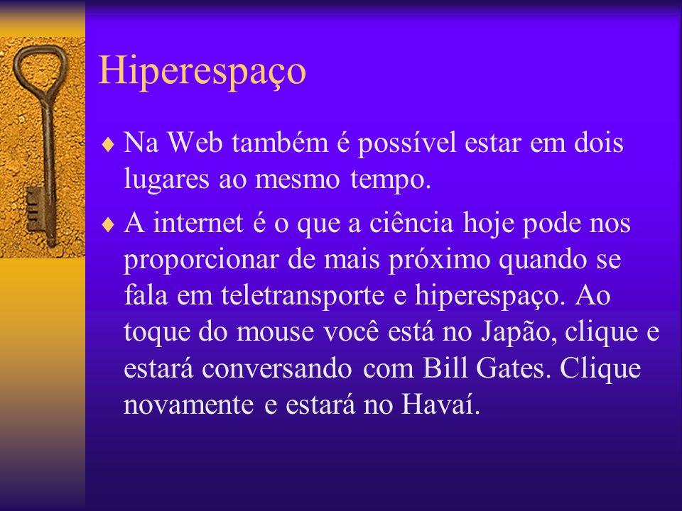 Hiperespaço Na Web também é possível estar em dois lugares ao mesmo tempo.