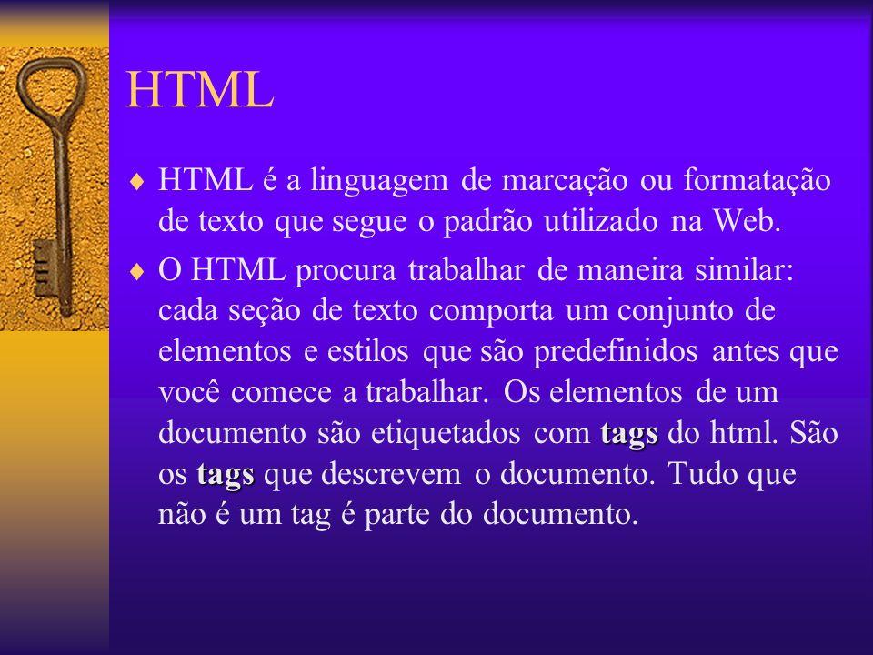 HTML HTML é a linguagem de marcação ou formatação de texto que segue o padrão utilizado na Web.