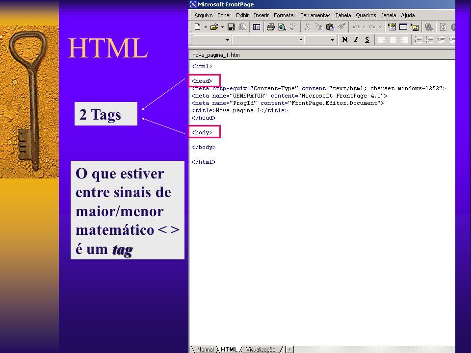 HTML 2 Tags tag O que estiver entre sinais de maior/menor matemático é um tag
