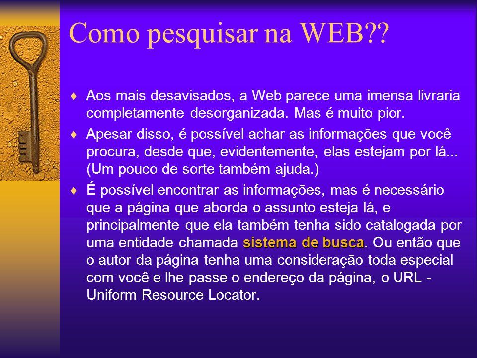 Aos mais desavisados, a Web parece uma imensa livraria completamente desorganizada.