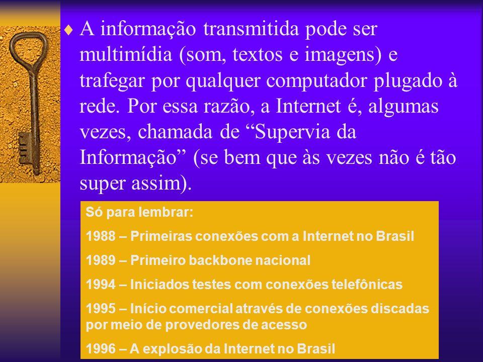 A informação transmitida pode ser multimídia (som, textos e imagens) e trafegar por qualquer computador plugado à rede.