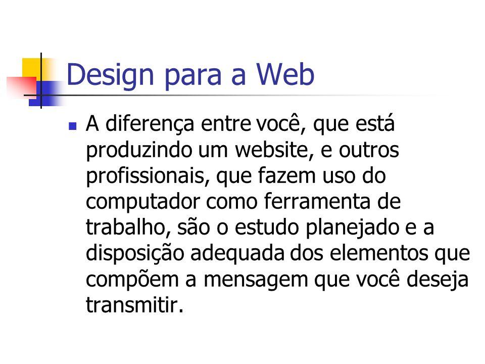 Design para a Web Requisitos para um bom design: Branstorming Referenciais teóricos sobre design Layout (fase da transpiração) Confecção das imagens, estudo da cor e da disposição gráfica
