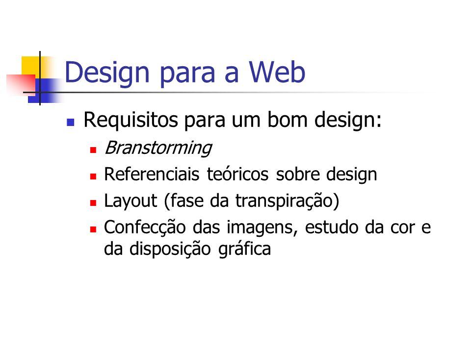 Design para a Web Branstorming Nem sempre é fácil ter idéias e executá-las.