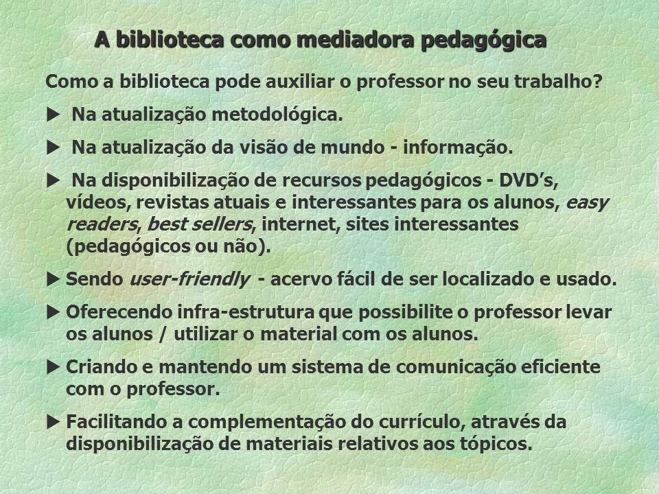 A biblioteca como mediadora pedagógica Como a biblioteca pode auxiliar o professor no seu trabalho.