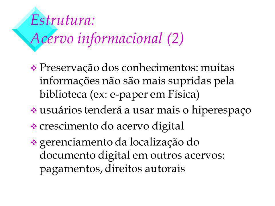 Estrutura: Acervo informacional (2) v Preservação dos conhecimentos: muitas informações não são mais supridas pela biblioteca (ex: e-paper em Física)