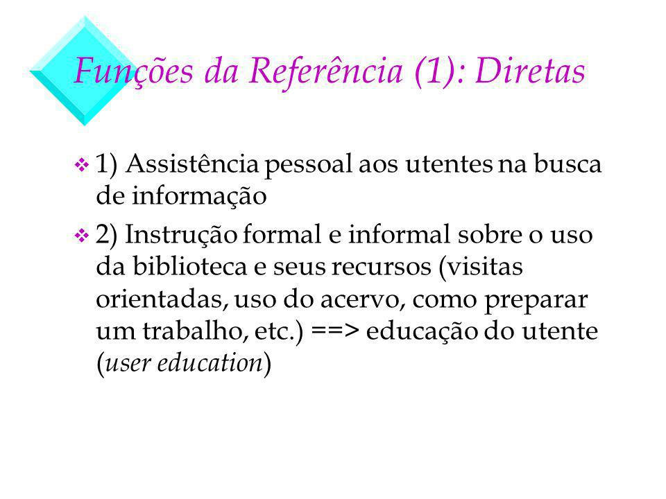 Funções da Referência (1): Diretas v 1) Assistência pessoal aos utentes na busca de informação v 2) Instrução formal e informal sobre o uso da bibliot