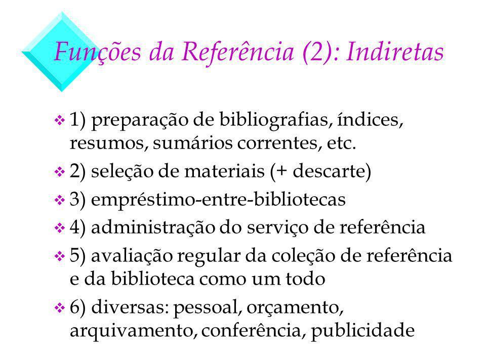 Funções da Referência (2): Indiretas v 1) preparação de bibliografias, índices, resumos, sumários correntes, etc. v 2) seleção de materiais (+ descart
