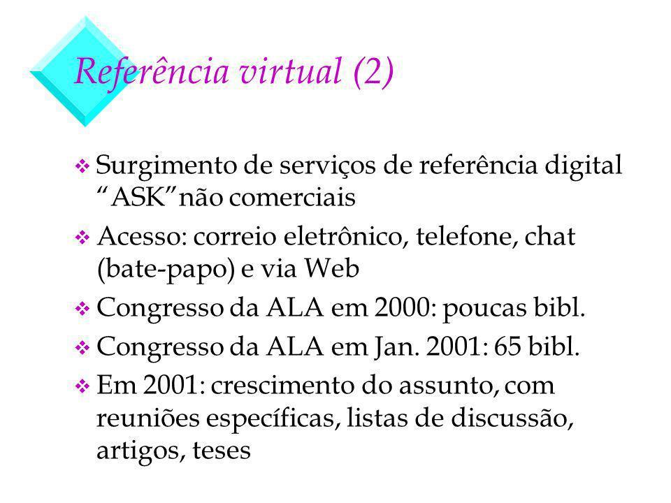 Referência virtual (2) v Surgimento de serviços de referência digital ASKnão comerciais v Acesso: correio eletrônico, telefone, chat (bate-papo) e via Web v Congresso da ALA em 2000: poucas bibl.