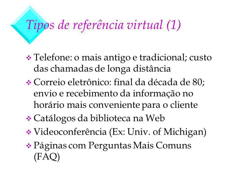 Tipos de referência virtual (1) v Telefone: o mais antigo e tradicional; custo das chamadas de longa distância v Correio eletrônico: final da década d