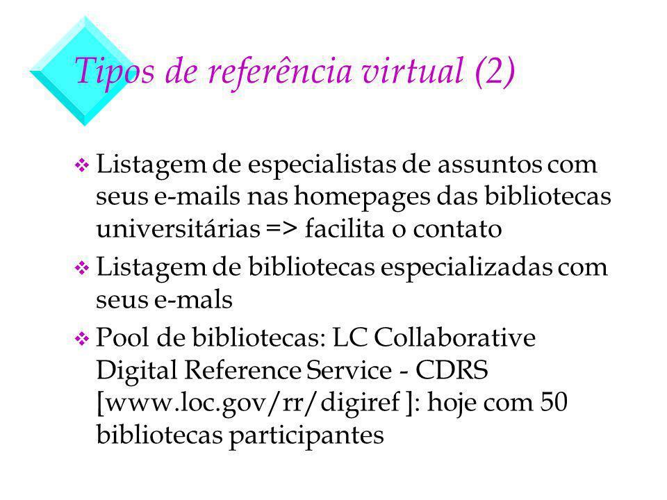 Tipos de referência virtual (2) v Listagem de especialistas de assuntos com seus e-mails nas homepages das bibliotecas universitárias => facilita o co