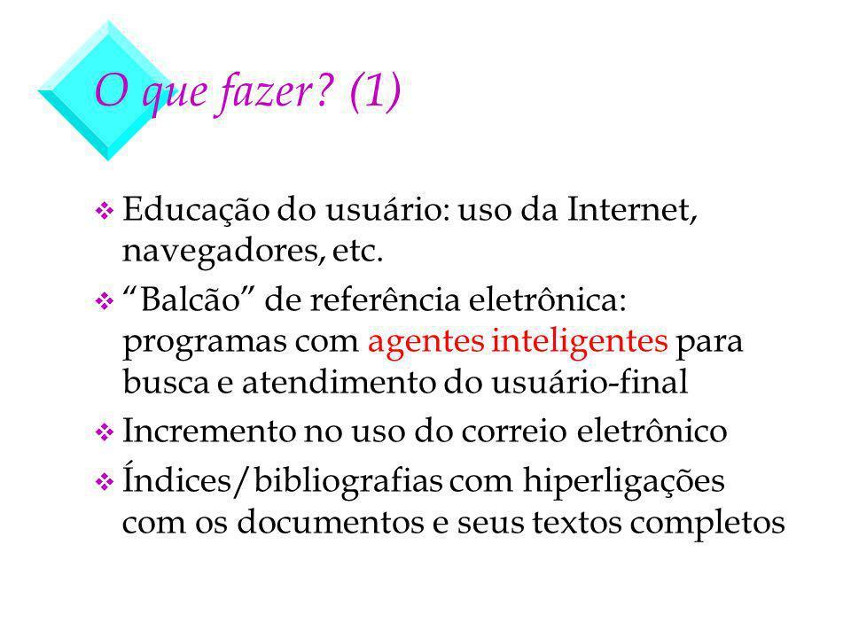 v Educação do usuário: uso da Internet, navegadores, etc. v Balcão de referência eletrônica: programas com agentes inteligentes para busca e atendimen
