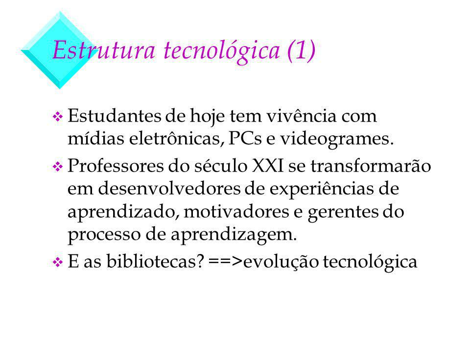 Estrutura tecnológica (1) v Estudantes de hoje tem vivência com mídias eletrônicas, PCs e videogrames. v Professores do século XXI se transformarão em