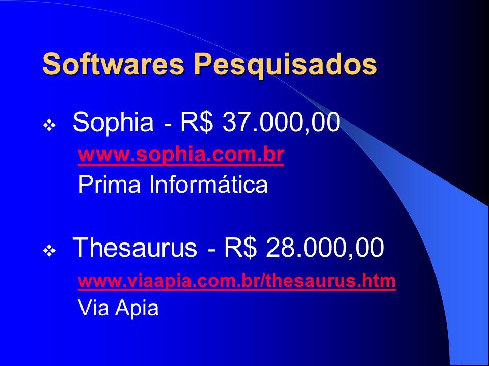 Softwares Pesquisados Sophia - R$ 37.000,00 www.sophia.com.br Prima Informática Thesaurus - R$ 28.000,00 www.viaapia.com.br/thesaurus.htm Via Apia